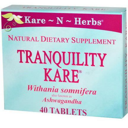 Kare n Herbs, Withania Somniferam, Tranquility Kare, 40 Tablets