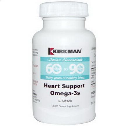 Kirkman Labs, Senior Essentials 60 to 90 Years, Heart Support Omega-3's, 60 Softgels