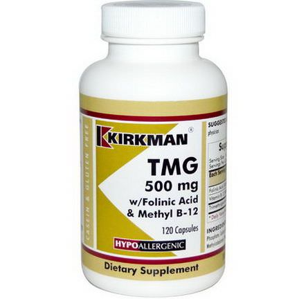 Kirkman Labs, TMG, With Folinic Acid&Methyl B-12, 500mg, 120 Capsules