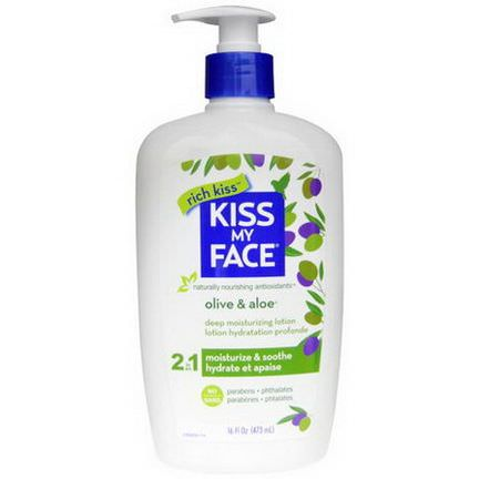 Kiss My Face, 2 In 1 Deep Moisturizing Lotion, Olive&Aloe 473ml