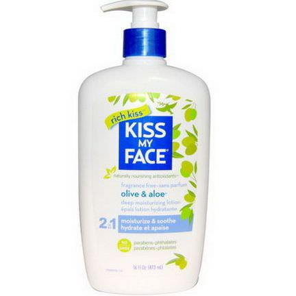 Kiss My Face, Olive&Aloe 2 in 1 Deep Moisturizing Lotion, Fragrance Free 473ml