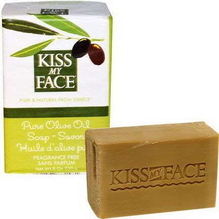 Kiss My Face, Pure Olive Oil Soap, Fragrance Free 230g