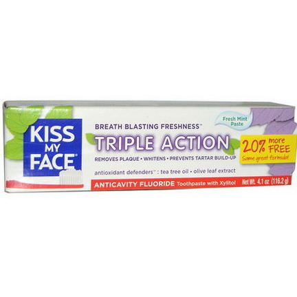 Kiss My Face, Triple Action, Anticavity Fluoride Toothpaste, Fresh Mint Paste 116.2g