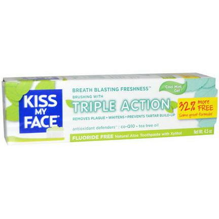 Kiss My Face, Triple Action Toothpaste, Cool Mint Gel 127.6g