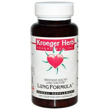 Kroeger Herb Co, Lung Formula, 100 Veggie Caps