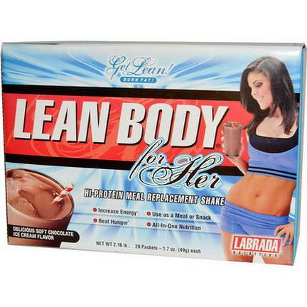 Labrada Nutrition, Lean Body for Her, Chocolate Ice Cream, 20 Packets 49g Each