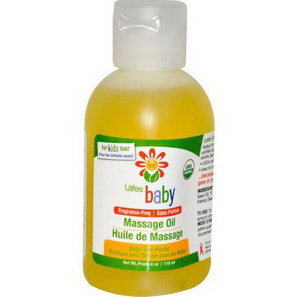 Lafe's Natural Body Care, Baby, Massage Oil, Fragrance Free 118ml