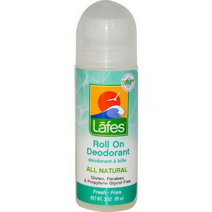Lafe's Natural Body Care, Roll On Deodorant, Fresh 89ml