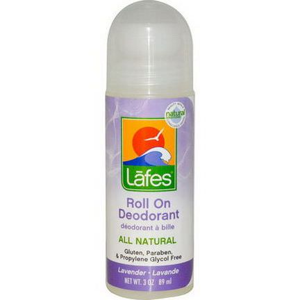Lafe's Natural Body Care, Roll On Deodorant, Lavender 89ml