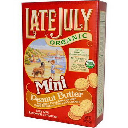 Late July, Organic Mini Bite Size Sandwich Crackers, Peanut Butter 142g