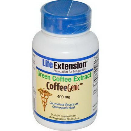 Life Extension, CoffeeGenic, Green Coffee Extract, 400mg, 90 Veggie Caps