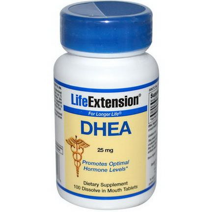 Life Extension, DHEA, 25mg, 100 Dissolve in Mouth Tablets