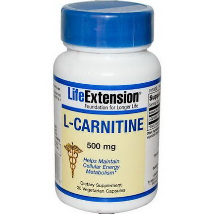 Life Extension, L-Carnitine, 500mg, 30 Veggie Caps