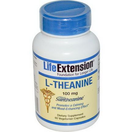 Life Extension, L-Theanine, 100mg, 60 Veggie Caps