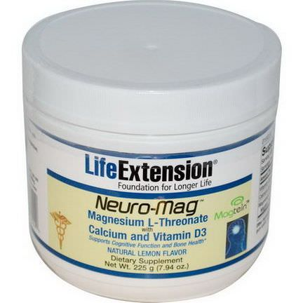 Life Extension, Neuro-Mag, Natural Lemon Flavor 225g