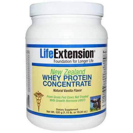 Life Extension, New Zealand Whey Protein Concentrate, Natural Vanilla Flavor 520g