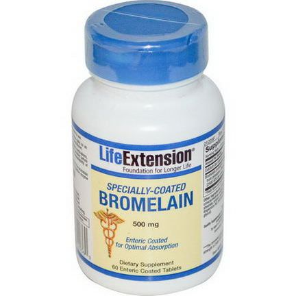 Life Extension, Specially-Coated Bromelain, 500mg, 60 Enteric Coated Tablets