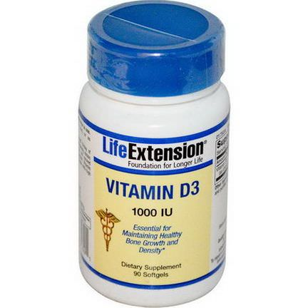 Life Extension, Vitamin D3, 1000 IU, 90 Softgels