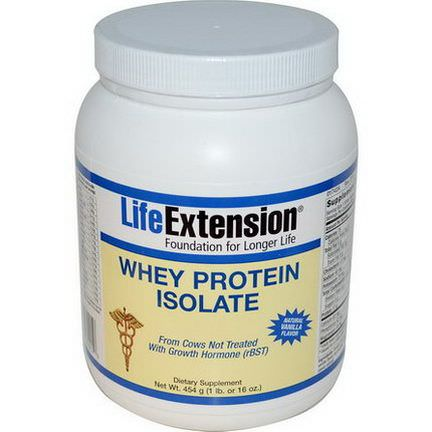 Life Extension, Whey Protein Isolate, Natural Vanilla Flavor 454g