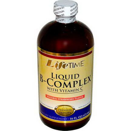 Life Time, Liquid B-Complex with Vitamin C, Natural Strawberry Flavor 473ml