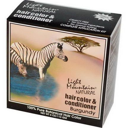Light Mountain, Natural Hair Color&Conditioner, Burgundy 113g