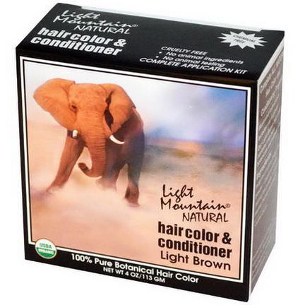 Light Mountain, Natural Hair Color&Conditioner, Light Brown 113g