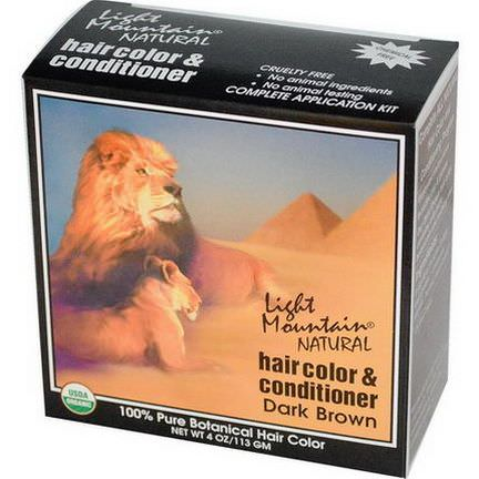 Light Mountain, Organic Hair Color&Conditioner, Dark Brown 113g