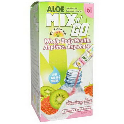 Lily of the Desert, Aloe Mix n'Go, Natural Aloe Powdered Drink Mix, Strawberry-Kiwi Flavored, 16 Packs 7g Each