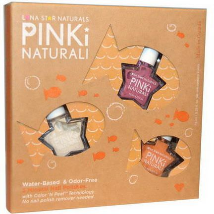 Luna Star Naturals, Pinki Nautrali, Crystal Lake Swims, 3 Mineral Nail Polishes 7.5ml Each
