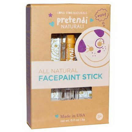 Luna Star Naturals, Pretendi Naturali, All Natural Facepaint Stick, Gold 3g