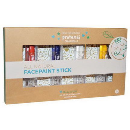Luna Star Naturals, Pretendi Naturali, All Natural Facepaint Stick Set, Red, Blue, White, Yellow, 4 Units, 3g Per Unit
