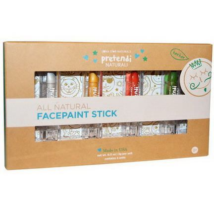Luna Star Naturals, Pretendi Naturali, All Natural Facepaint Stick Set, Silver, Gold, Red, Green, 4 Units, 3g Per Unit