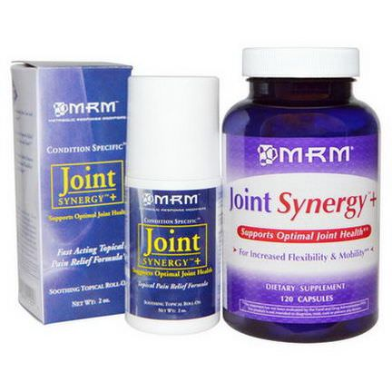 MRM, Joint Synergy Roll-On, Value Pack, 120 Capsules and 2 oz Roll-On