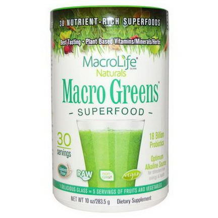 Macrolife Naturals, Macro Greens, Nutrient - Rich Superfoods 283.5g