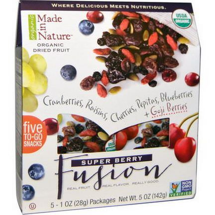 Made in Nature, Organic Dried Fruit, Super Berry Fusion, 5 Packages 28g Each
