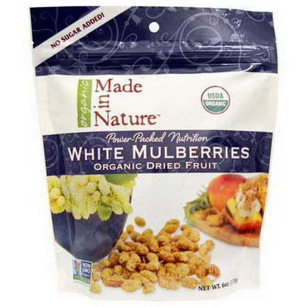 Made in Nature, Organic Dried Fruit, White Mulberries 170g