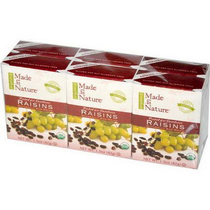 Made in Nature, Organic Raisins, 6 Pack 42g Each