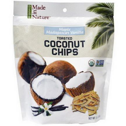 Made in Nature, Organic Toasted Coconut Chips, Maple Madagascar Vanilla 85g