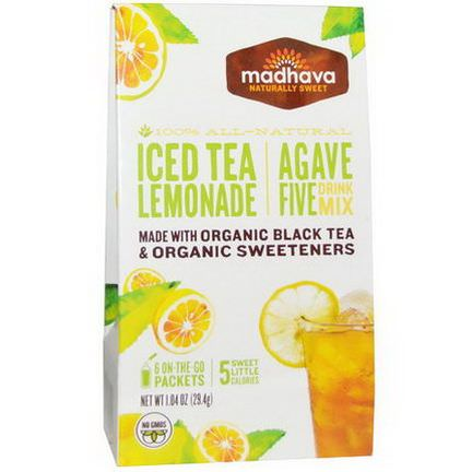 Madhava Natural Sweeteners, Agave Five Drink Mix, Iced Tea Lemonade, 6 Packets 29.4g