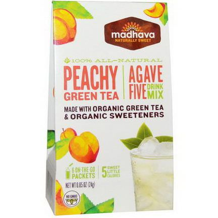 Madhava Natural Sweeteners, Agave Five Drink Mix, Peachy Green Tea, 6 Packets 24g