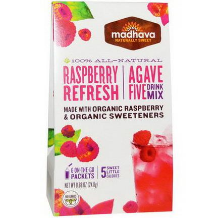 Madhava Natural Sweeteners, Agave Five Drink Mix, Raspberry Refresh, 6 Packets 24.8g