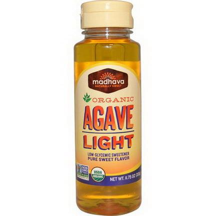 Madhava Natural Sweeteners, Organic Agave, Light, Low-Glycemic Sweetener 333g