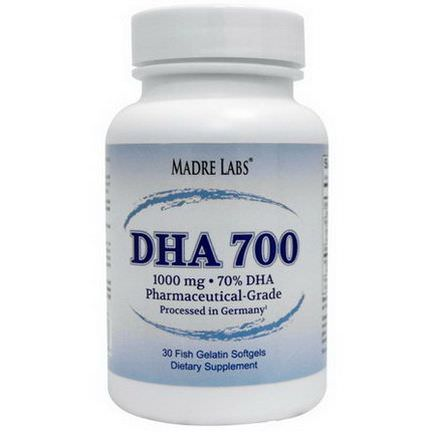 Madre Labs, DHA 700, 1000mg, 30 Fish Gelatin Softgels