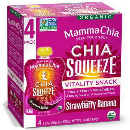 Mamma Chia, Organic Chia Squeeze, Vitality Snack, Strawberry Banana, 4 Squeezes 99g Each
