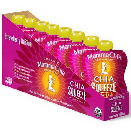 Mamma Chia, Organic Chia Squeeze Vitality Snack, Strawberry Banana, 8 Pouches 99g Each