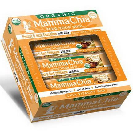 Mamma Chia, Organic Chia Vitality Bar, Peanut&Dark Chocolate with Chia, 12 Bars 40g Each
