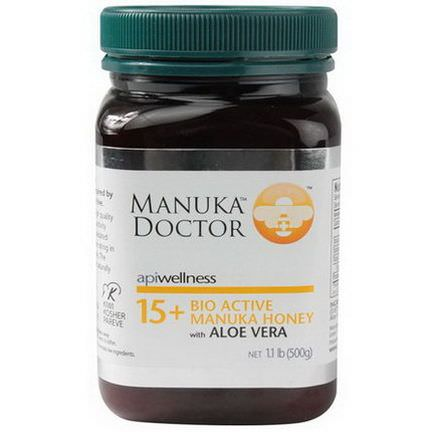 Manuka Doctor, Apiwellness, 15+ Bio Active Manuka Honey with Aloe Vera 500g