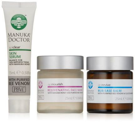 Manuka Doctor, Platinum, Apinourish, Purified Bee Venom Skin Care, 3 Piece Introductory Kit