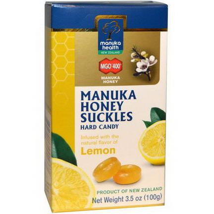 Manuka Health, Manuka Honey Suckles, MGO 400+, Hard Candy, Lemon 100g