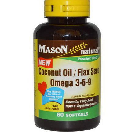 Mason Vitamins, Coconut Oil / Flax Seed Omega 3-6-9, 60 Softgels